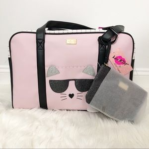 Betsey Johnson Pink Black Cat Weekender Travel Bag